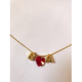 Collar Corazón Cristal Con Letras Chapa San Valentin Parejas