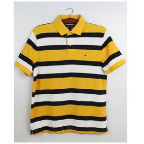 006cbbfca9f8c Camisa Polo Masculina - Amarela Listrada - Tommy Hilfiger