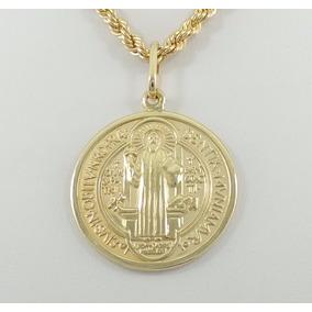3443 Medalha De São Bento Belíssima Ouro 18 Kilates - Joias e ... 5eb45a4dc3