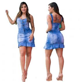 Vestido Jardineira Jeans Com Babado Botões Lycra 009