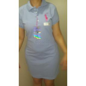 Vestido Azul Aço Gola Polo Feminino Super Oferta