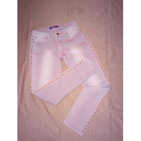 Pantalón Jeans De Mujer Jeans Entubado Estoperoles En Dorado