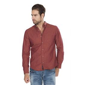 Camisas Hombre Casual Naranja Slim Fit Moda Algodon B85121