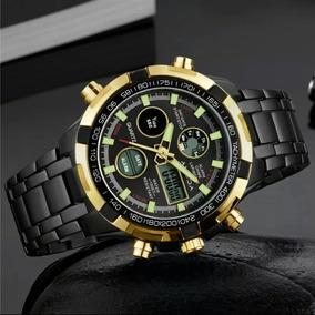 9e77f2b076c Relógio Masculino Amuda Luxo Dourado Promoção Pronta Entrega