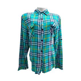 Camisa Xadrez Feminina Viscose Blusa Manga Longa Com Bolsos 91a3ed99b0b7a