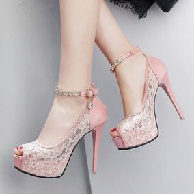 Sapato Salto Alto Peep Toe Renda Importado