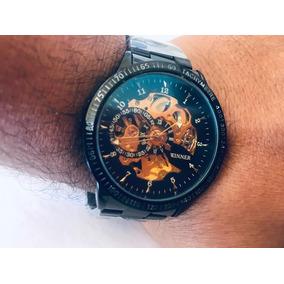 Relógio Masculino Feminino Skeleton Luxo Original Caixa Lind