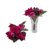 Ramo Flores Artificiales Azucenas Rosas Ciruela 24 Cm