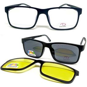 Armação De Óculos P/ Grau Clip On 3 Em 1 Polarizado Uva Uvb