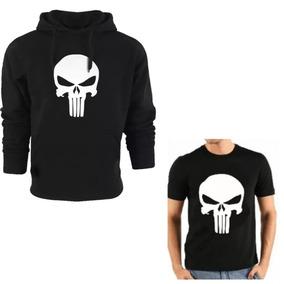 Kit Moleton Justiceiro Caveira Blusa Camisa Moletom Camiseta