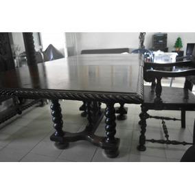 Mesa Jantar Em Jacaranda, Colonial, Com 6 Cadeiras, Linda