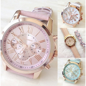 3d0784256c9 Relógio Feminino De Pulso Bege Dourado Geneva - Relógios De Pulso no ...