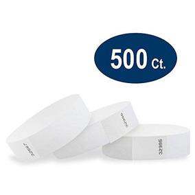 Wristco White 3/4 Tyvek Wristbands - Paquete De 500