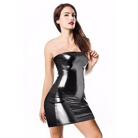 13df2b08c80 Mini Vestido Straple Sexy Wet Look Pole Dance Gotico