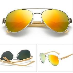 790a8d55078f1 Óculos Madeira Aviador Feminino Polarizado Uv + Brinde Case