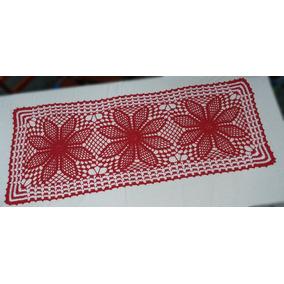 Caminho De Mesa P/ 6 Cadeiras Em Crochê - Vermelho