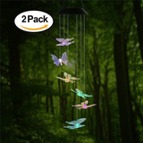 2 Pack Changing Color Butterfly Wind Chime, Acelist Spiral