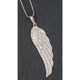 Stunning Silverplated & Dimante Guardian Angel Wing Necklace