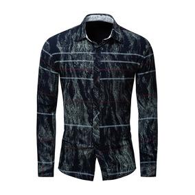 f8638a8ca2 Camisa Manga Larga Estilo Vintage Estampado Rayas P hombre L
