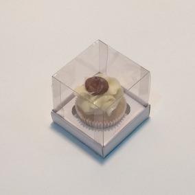 50 Caixas - 1 Mini-cupcake - 6x6x7 Cm Tampa Acetato