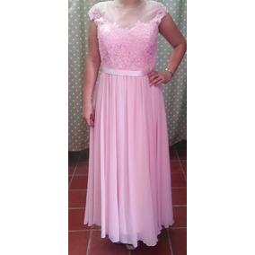 Vestido Largo Rosa Encaje Y Pedreria L