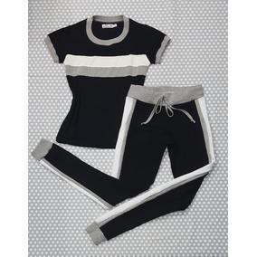 Conjunto Feminino T-shirt E Calça Jogger Preta Faixa Cinza