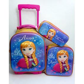 Mochila Frozen Ana Kinder Con Carro, Lonchera Y Lap 3d