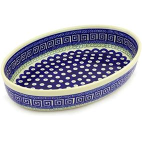 Polaco Pottery 1034 Oval Baker Tema De Peacock De Reciano