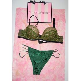 Victorias Secret Conjunto Lencería Verde Bra 34a Pantie S