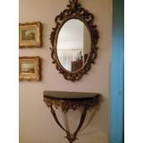 Espejo De Pared + Consola Decoración Bronce Y Marmol