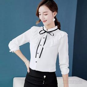 b7b2399c3853a Blusa De Vestir Elegante Con Moño Y Olanes Para Dama