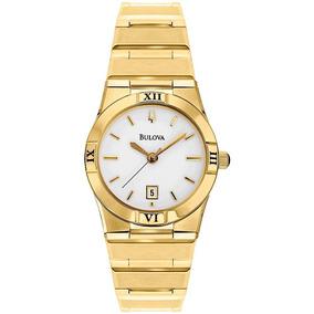 84367bafd96 Relógio Bulova Feminino Dourado Pequeno Wb29929h Original
