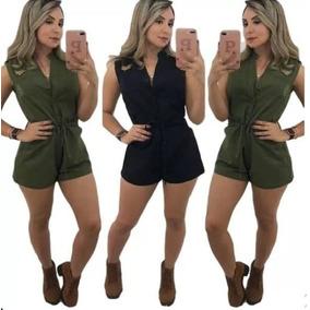 Macaquinho Sarja Verde Militar Tendência 2019 Verão Barato