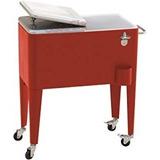 Caixa Cooler Térmico Glacial Vermelho Rodas Retro