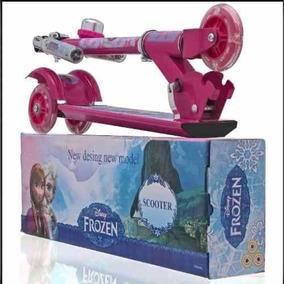 Patinete Infantil Metal Frozen 3 Rodas Com Led Frete Grátis