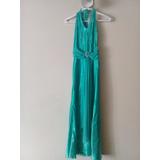 Elegante Vestido De Fiesta Tipo Halter, Azul Turquesa. Talla