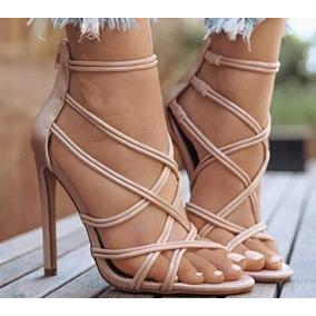 Salto Alto Cruzado Peep Toe Diversas Cores Moda Feminina