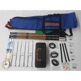 Kit Pesqueiro 3 Varas Telescópica, 3,60 Com Acessórios E Bri