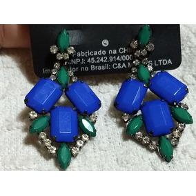 2f73d051d0b Brincos De Gancho Em Prata Com Pedrarias Azul - Joias e Relógios no ...