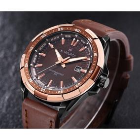 Relógio Masculino Dourado Militar Esportivo Social Original