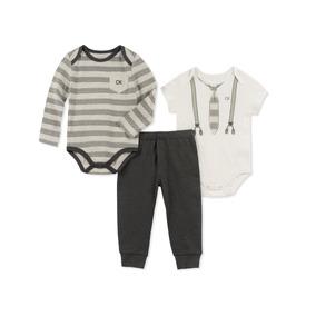 Conjunto Calvin Klein De 3 Piezas Para Bebé Talla 12 Meses
