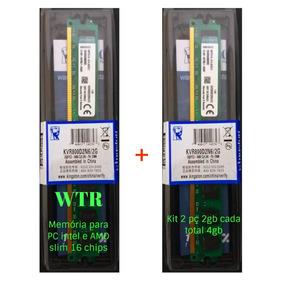 Kit 2 Memória Kingston Ddr2 800 Mhz Pc2 4gb Dual Chip