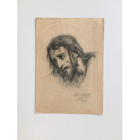 Cartão Postal Antigo Com Figura De Cristo Desenho De Artista