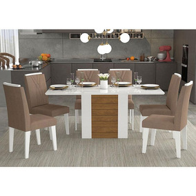 Conjunto De Mesa Rafaela 180x90cm Com 6 Cadeiras Nicole -