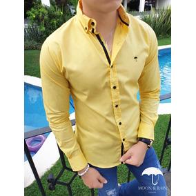 Camisa Slim Fit Para Hombre Amarilla Lisa Con Coderas Negras