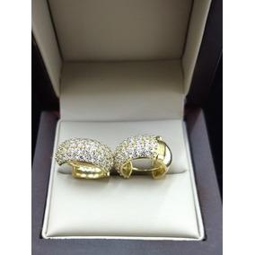 c91eb3f36e1b Arracadas De Oro Amarillo 10k Con Zirconias Hechura Especial