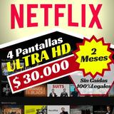Cuentes De Netflix Premiu Ultra 4 Pntallas 2meses Mercadolíd