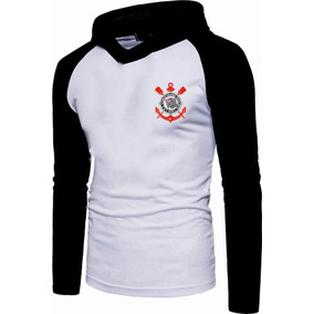 9b65c0c6c6 Camisa Camiseta Raglan Corinthians Manga Longa Com Capuz
