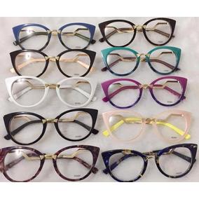 Óculos Armação De Grau Estilo Gatinho Acetato Fem. + Brinde. 7 cores. R  120 369bcae441