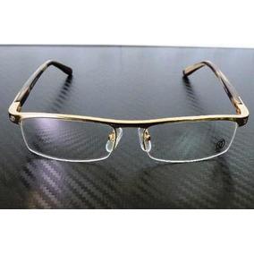 Armação Oculos Grau Cartier Dourada Meio Aro Acetato 8100816 ... 0150f46c66